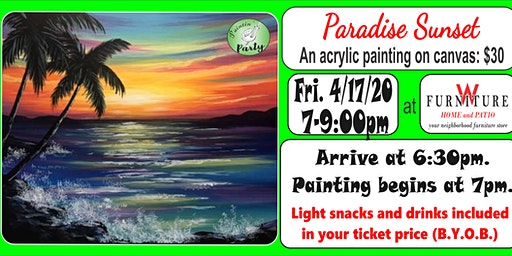 PAINTIN' PARTY with KAT: Paradise Sunset (ACRYLIC PAINTING on CANVAS)