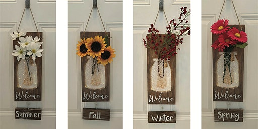 Interchangeable Mason Jar String Art Welcome Sign with Lights