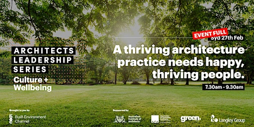 Architects Leadership Series | Culture + Wellbeing | Breakfast Event