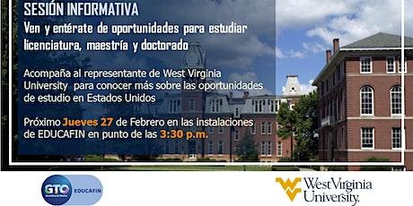 Sesión informativa EDUCAFIN/WEST VIRGINIA UNIVERSITY entradas