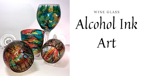 Wine Glass Alcohol Ink Art
