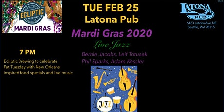 TUE 2/25 Mardi Gras Latona Pub Ecliptic Brewing Live Jazz tickets