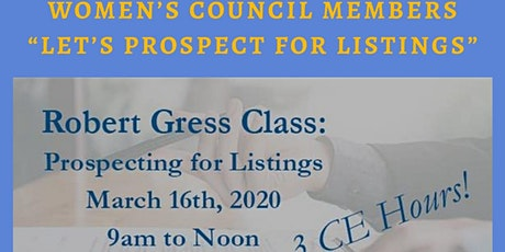 Let's Prospect for Listings!  3 Hr CE Class with Robert Gress tickets