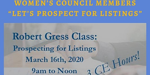 Let's Prospect for Listings!  3 Hr CE Class with Robert Gress