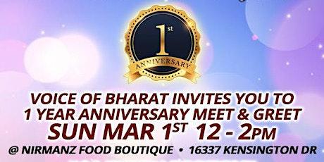 Voice of Bharat 1st Anniversary & Fund Raiser tickets