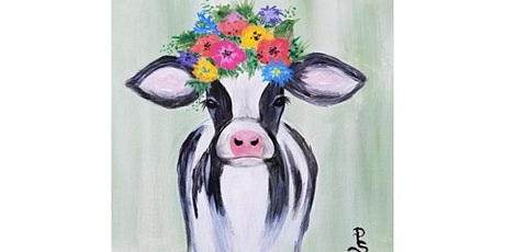 """VIRTUAL EVENT: 4/16 - Corks and Canvas Event """"Happy Cow"""" tickets"""