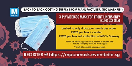 3-ply Mask direct from manufacturer for FRONT LINERS only ( clinic use only ) tickets