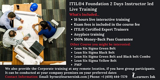ITIL®4 Foundation 2 Days Certification Training in Vallejo