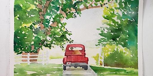 Red Farm Truck Watercolor Class