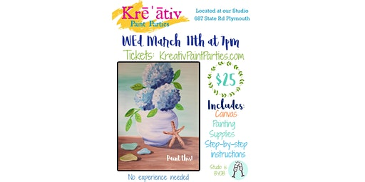 Kreativ Paint Party - Wed. March 11th at 7pm - Hydrangea painting