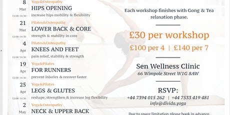 Yoga & pilates & osteopathy workshops for busy life tickets