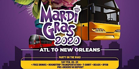 Mardi Gras 2020 Party Bus Turn Around Trip Limited Tickets Remaining  tickets