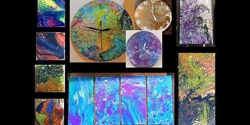 Fluid Art Clocks and Canvas! Acrylic Pour Painting for Beginners!