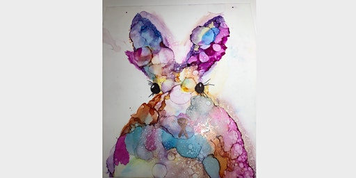 Alcohol Ink Bunny Painting Workshop at the Tie One On Creativity Bar