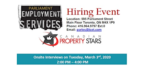 HIRING EVENT: Canadian Property Stars tickets