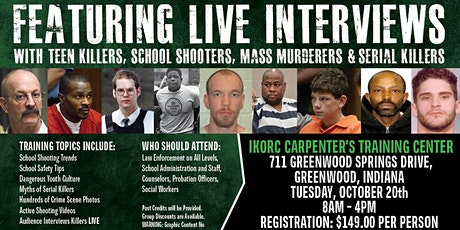 Profiling Teen Killers, School Shooters, Mass Murderers and Serial Killers by Phil Chalmers-Greenwood, Indiana-October 20, 2020 tickets
