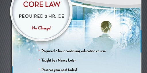 FREE, 3 hr. Core Law CE - KWGCNE