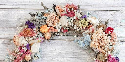 Dried flower wreath workshop, Cheltenham, Gloucestershire