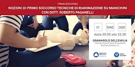 21/05/2020 NOZIONI DI PRIMO SOCCORSO: TECNICHE DI RIANIMAZIONE SU MANICHINI biglietti