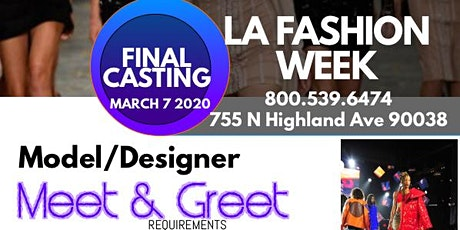 La Fashion Week Mixer Model Designer Meet and Greet tickets