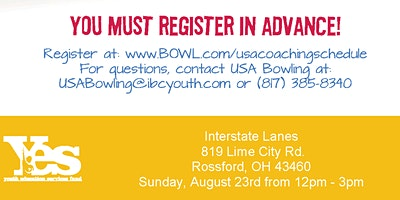 FREE USA Bowling Coach Certification Seminar - Interstate Lanes, Rossford, OH