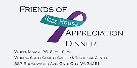 Friends of Hope House Appreciation Dinner tickets