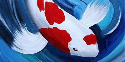 Red & White Koi Paint Party at Brush & Cork