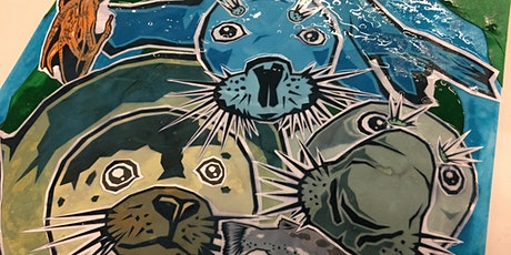 """Seal Party"", A Marine Mammal Cut Paper Collage Workshop tickets"