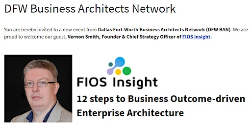 DFW.BAN: 12 steps to Business Outcome-driven  Enterprise Architecture