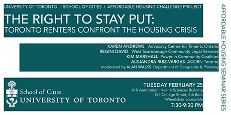 The Right to Stay Put: Toronto Renters Confront the Housing Crisis tickets