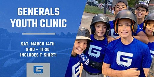 Grant Generals Youth Baseball Clinic FREE T-SHIRT (1 Day) March 14th 2020