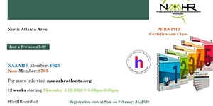 Spring 2020 PHR/SPHR Certification Exam Preparatory...