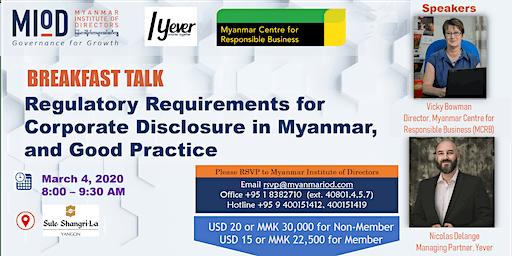 Regulatory Requirements for Corporate Disclosure in Myanmar & Good Practice