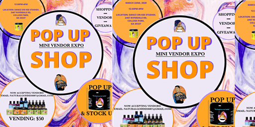 Natural Goddess & Natural Adonis  Pop Up Shop and Mini Vendor Expo