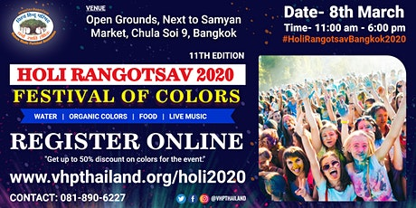 Holi Rangotsav Bangkok 2020 tickets