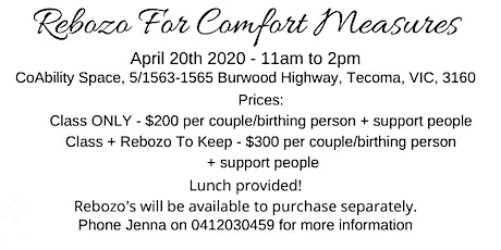 Rebozo For Comfort Measures Class (pregnancy & birth) tickets