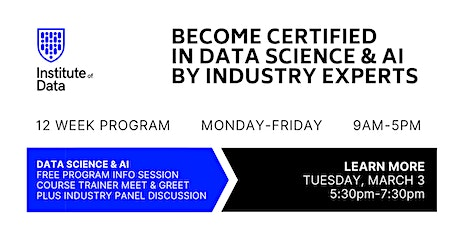 12-Week Data Science & AI Training Program: Free Info Session: 5:30pm tickets
