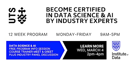UTS 12 Week Data Science & AI Training Program - Free Info Session: 2pm tickets