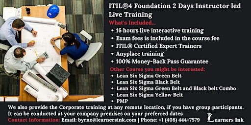 ITIL®4 Foundation 2 Days Certification Training in Murrieta