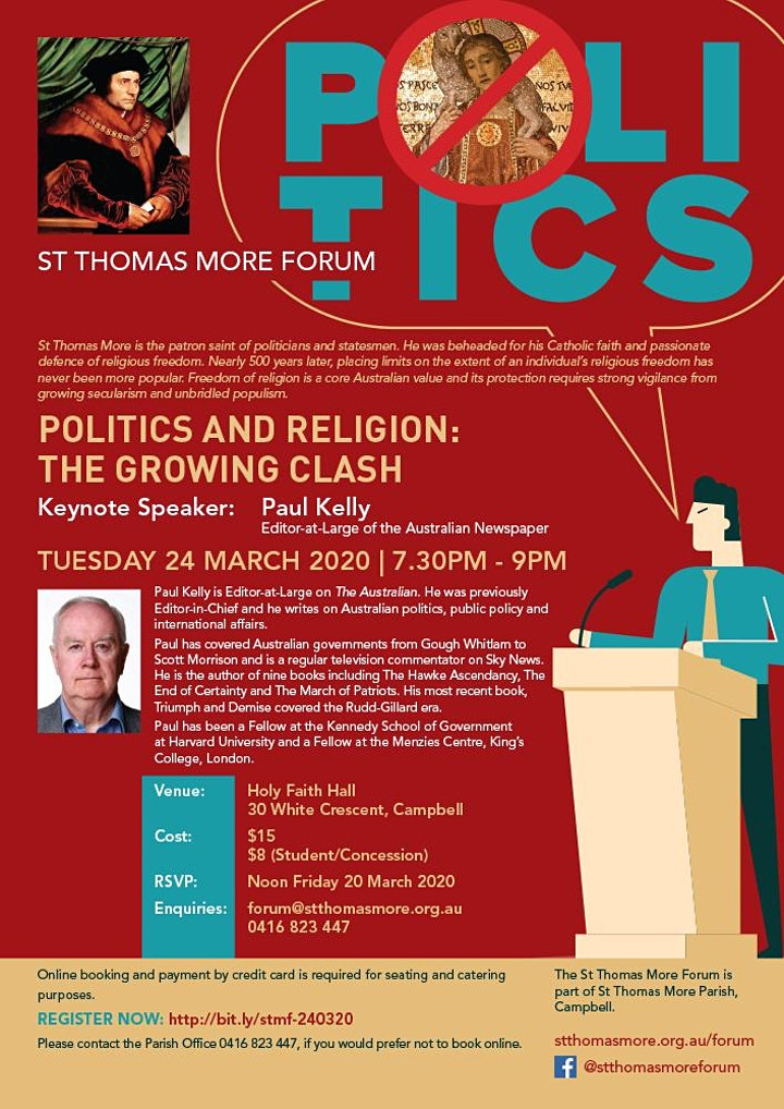 St Thomas More Forum with Paul Kelly image