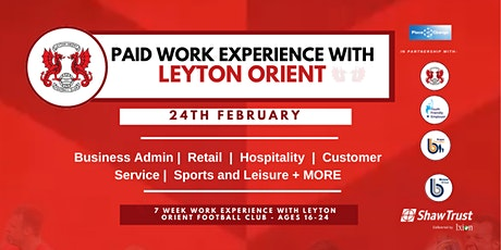 PAID work experience with Leyton Orient FC for 16-24 year olds tickets