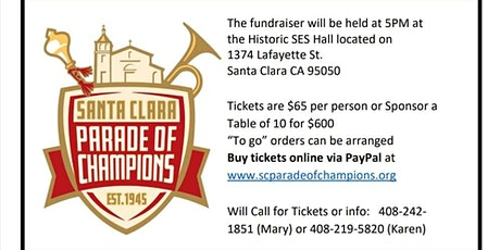 Annual Crab Feed Fundraiser for the Santa Clara Parade 9f Champions tickets
