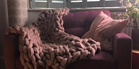 Jumbo arm knitting throw/blanket workshop tickets