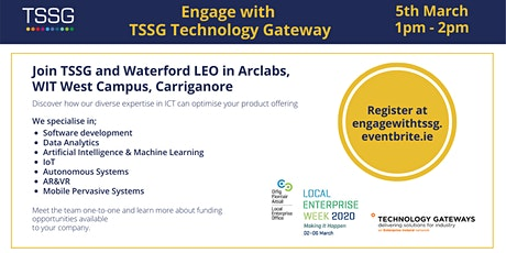 Engage with TSSG Technology Gateway, part of Enterprise Week tickets