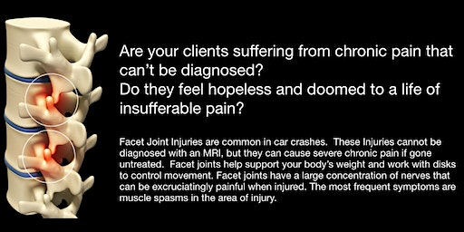 Facet Pain treatment and Personal Injury Claims Dinner and Discussion