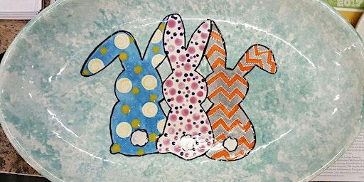 Three Amigo Bunnies Ceramic Plate Workshop