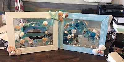 Sea Glass Framed Sun Catcher Art