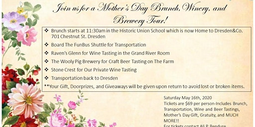 Mother's Day Brunch, Winery, and Brewery Tour!