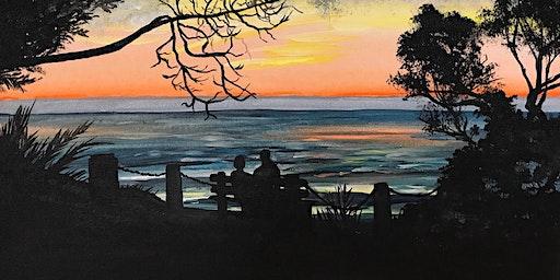 Paint this peaceful coastal sunset!