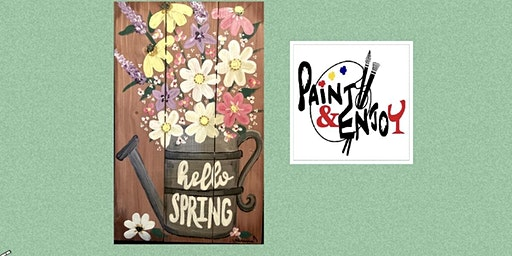 """Paint and Enjoy at The Hub & Corner Cafe  """"Hello  Spring """" on Wood"""